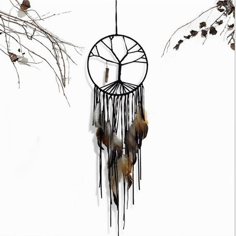 India Retro Life Tree Feather Dream Catcher Wind Chimes Hanging Pendant Good Luck Dreamcatcher