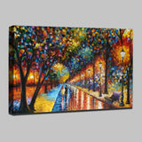 100% Handmade Modern Palette Knife Park Street Oil Painting On Canvas Art Pictures Wall Paintings