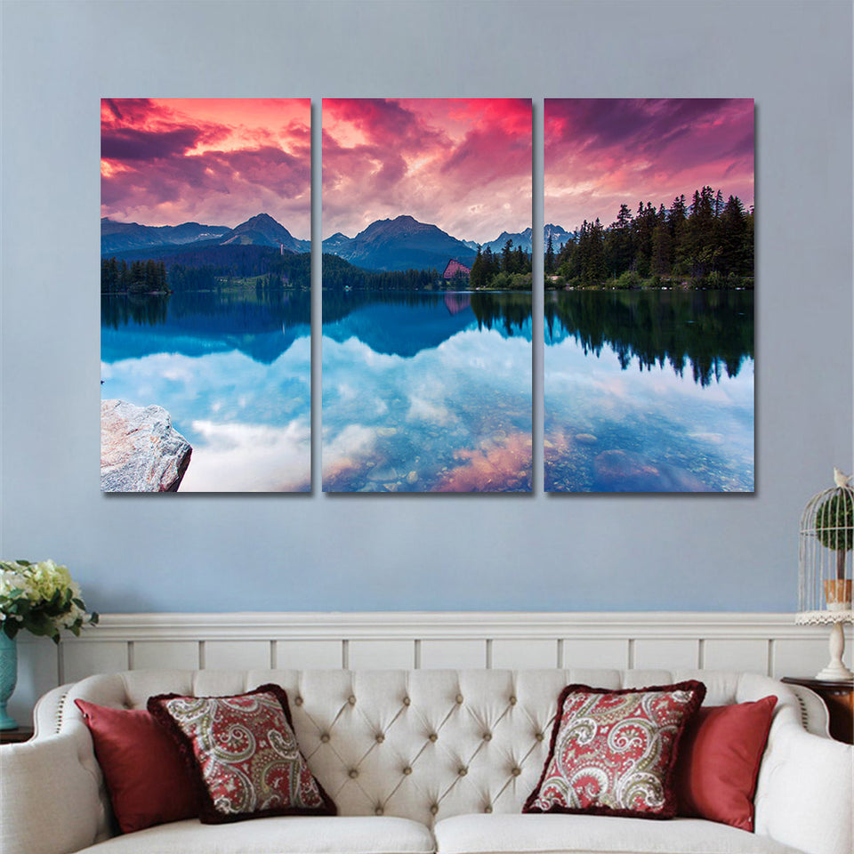 Canvas Painting Wall Pictures Prints Modern Sunset Landscape Wall Art 3 Panals