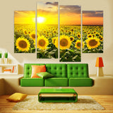 Sunflower HD Printed Canvas Painting Flower Wall Art Modular Painting Canvas Art Prints 4 Panel