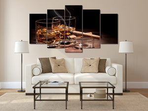 HD Printed Still Wine Cigar Painting Canvas Print Room Decor Print Poster Picture