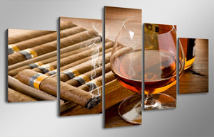 HD Printed Wine And Painting Canvas Print Room Decor Print Poster Picture