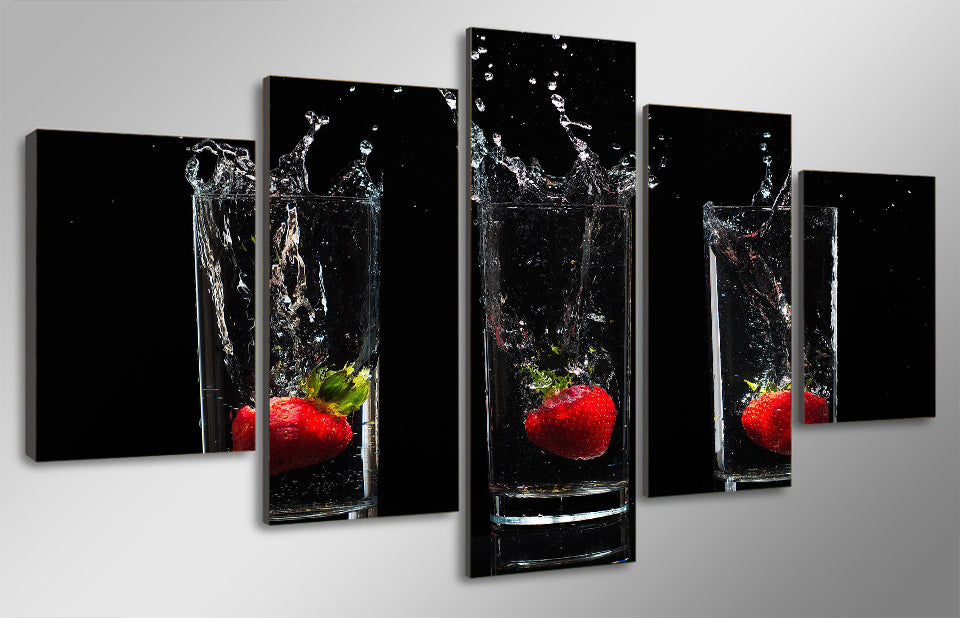 HD Printed Strawberry Cup Painting Room Decoration Print Poster Picture Canvas