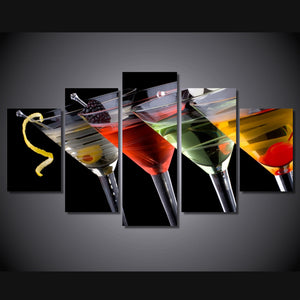 HD Printed Drinks Group Painting Canvas Print Room Decor Print Poster Picture