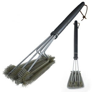 Rugged Grill Cleaning Brush BBQ Grill Brush 3 Stainless Steel Brushes In 1 Provides Effortless BBQ