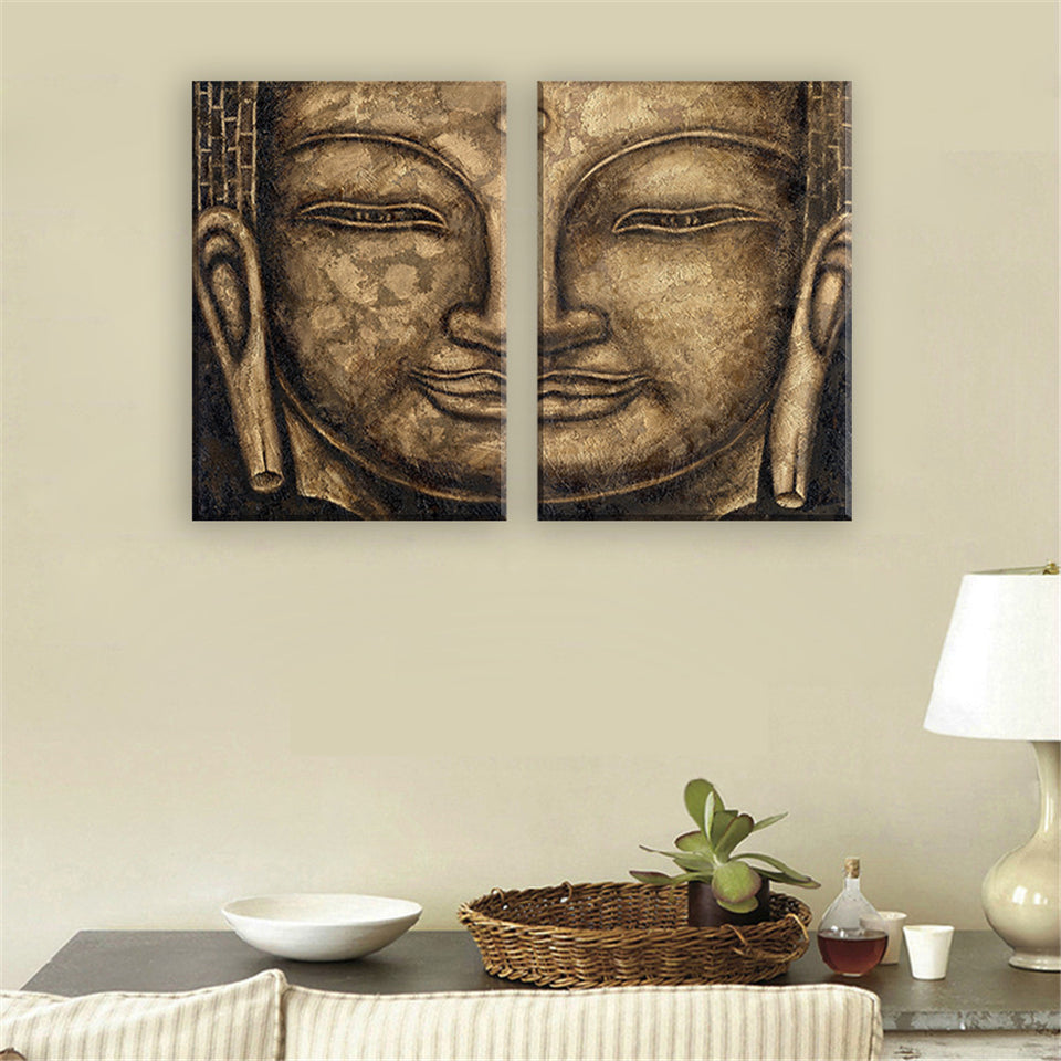 Canvas Oil Painting of Buddha Face Modern Abstract Canvas Print Modular Picture