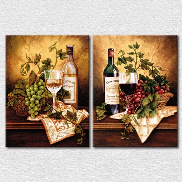 Fresh Fruits And Wine Canvas Pictures Kitchen Wall Decoration 2 Panels Arts Pictures