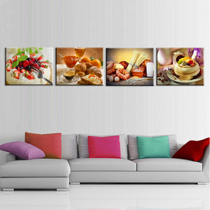 Oil Painting Canvas Print Still Life Sweet Cake Fruit Flower Art Poster Decorative Pictures 4 Pieces Unframed