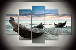 HD Printed Boats on the Beach Painting on Canvas Print Poster Picture Canvas