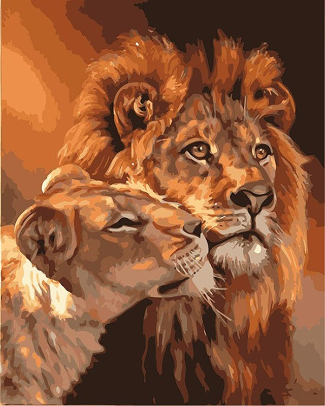 The Lion Animals DIY Painting By Numbers Acrylic Wall Art Picture Hand Painted Oil Painting