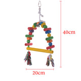 Wooden Pet Bird Stand Toys Arch Bridge Swing Chew Toys With Bells Parrot Parakeet Pets
