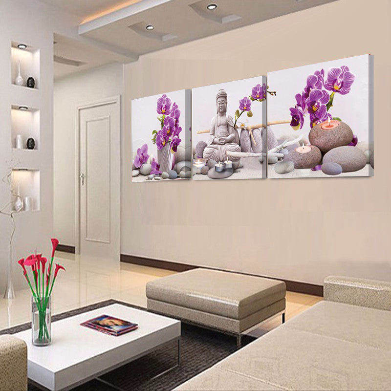 3 Piece Canvas Painting Wall Art Picture Buddha Print Painting on Canvas  Home Wall Decor Flower
