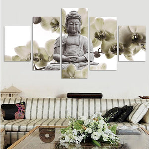 Figure Painting 5 Panel Large Orchid Background Buddha Painting Canvas Art Wall Pictures