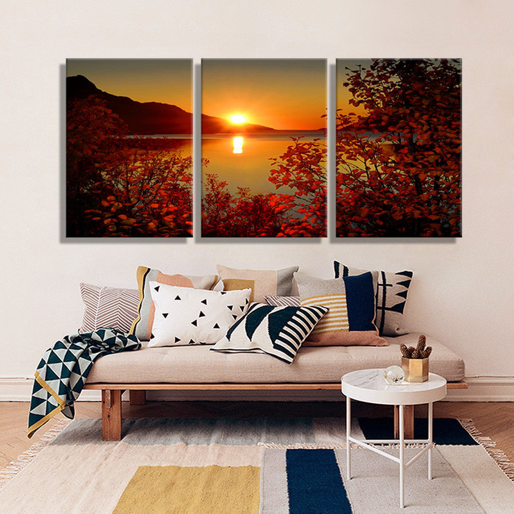 Oil Painting Canvas Lake Sunset Landscape Wall Art Decoration Painting Wall Picture