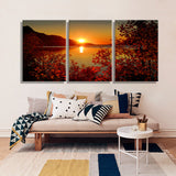 Oil Painting Canvas Lake Sunset Landscape Wall Art Decoration Painting Home Decor Modern Wall Picture For Living Room(3PCS)