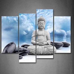 Cheap 4 Piece Set Buddha Religion Modern Wall Painting Large Meditation Art Canvas Prints Picture Oil Painting
