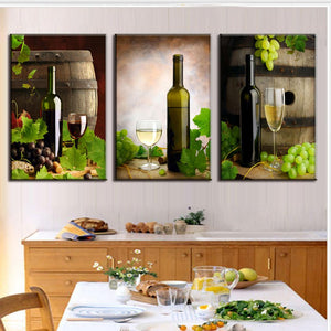 Modern Spray Canvas Painting Wine Wine Barrels Canvas Painting 3 Pieces Dining Room Wall Art Picture