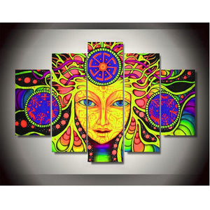 Canvas Printed Psychedelic Mandala Abstract Paintings 5 Panels Wall Art Poster Wall Pictures