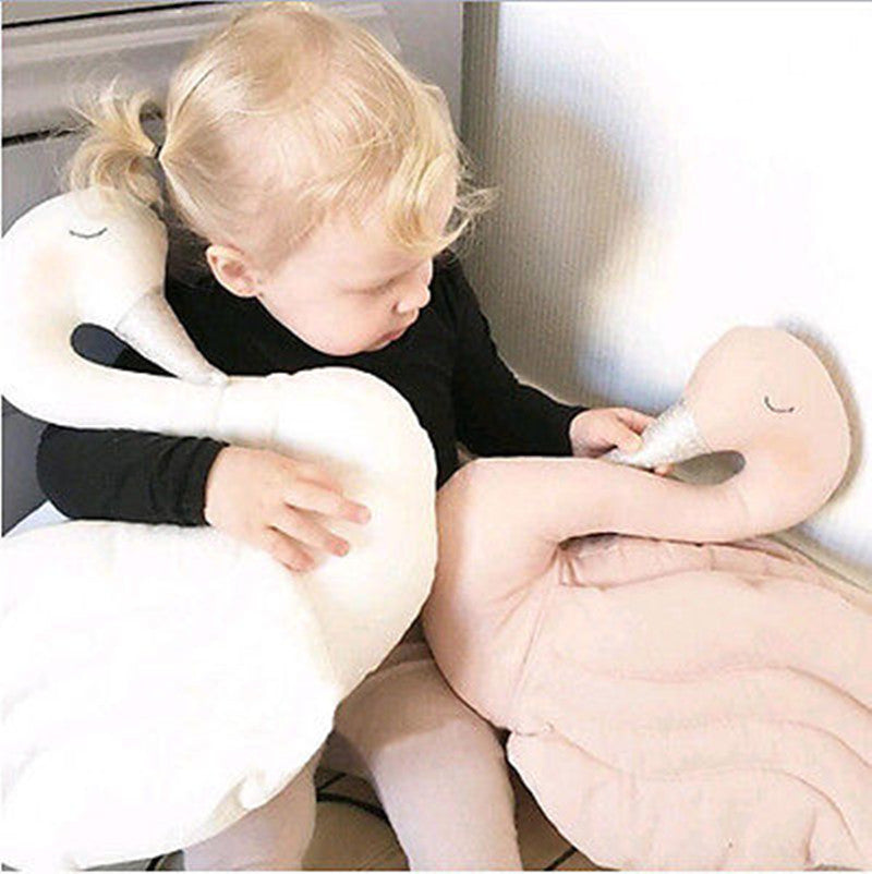 Plush Doll Toy Stuffed Animal Swan Soft Lumbar Pillow Cushion Bolster