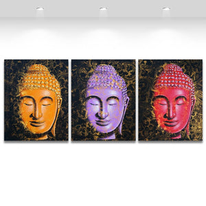 3 Panel Printed Canvas Art Orange Purple Red Buddha Painting Wall Pictures