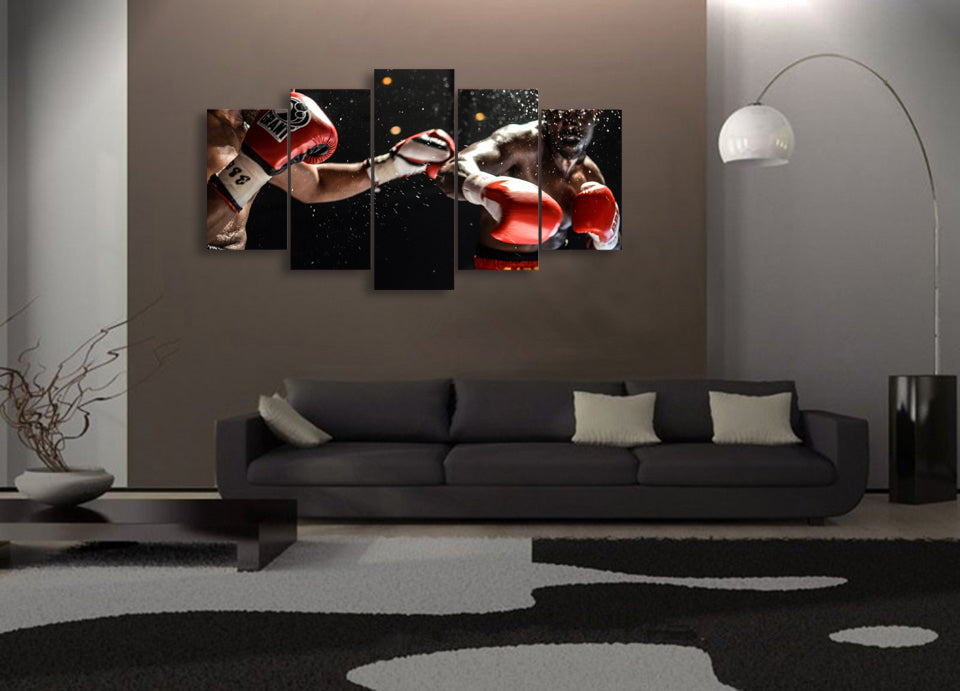 HD Printed Boxing Match Poster 5 Pieces Group Painting Room Print Poster Picture Canvas