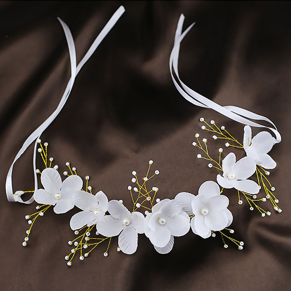 Wedding Hair Accessories Bridal Lace Flowers Crystal Pearl Headbands Korea Trendy Floral Tiaras
