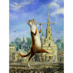 Walking Cat Animals DIY Painting By Numbers Hand Painted Oil Painting Wall Art Picture For Gift Home Decoration