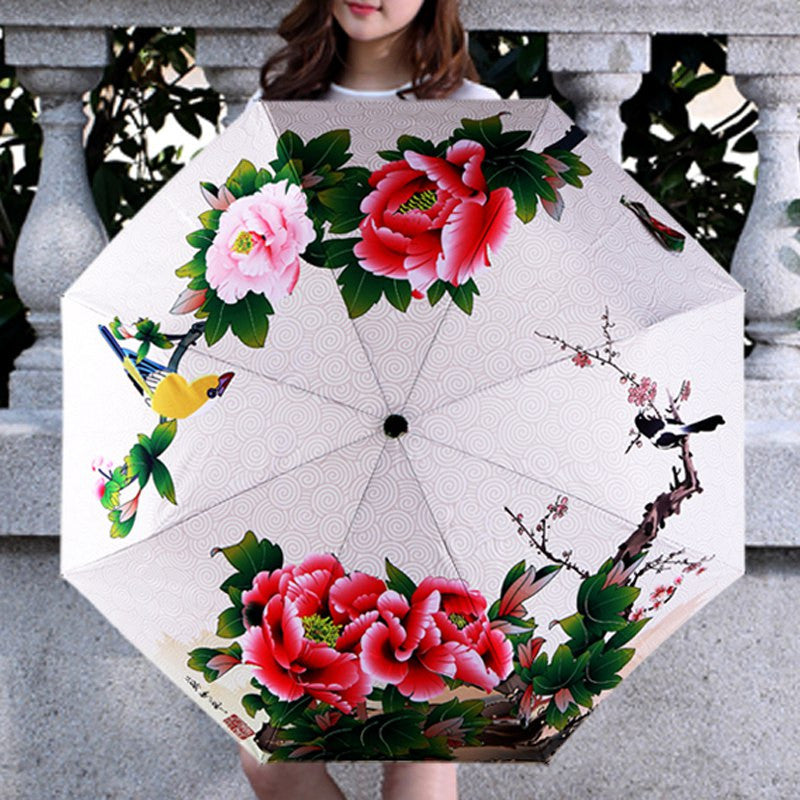 Women Rain Umbrella Peony Painting Parasol Windproof Anti-UV Folding Umbrella