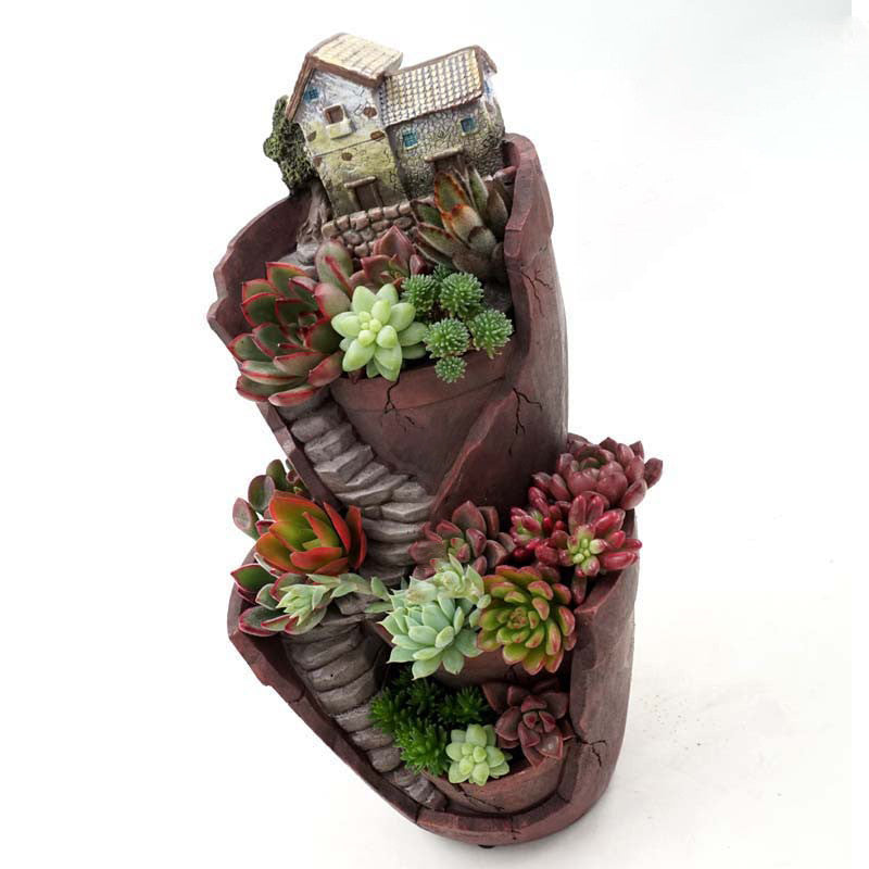 Resin Flower Pot Succulent Plants Pot Garden Bonsai Planter Micro Landscape flowerpot Garden