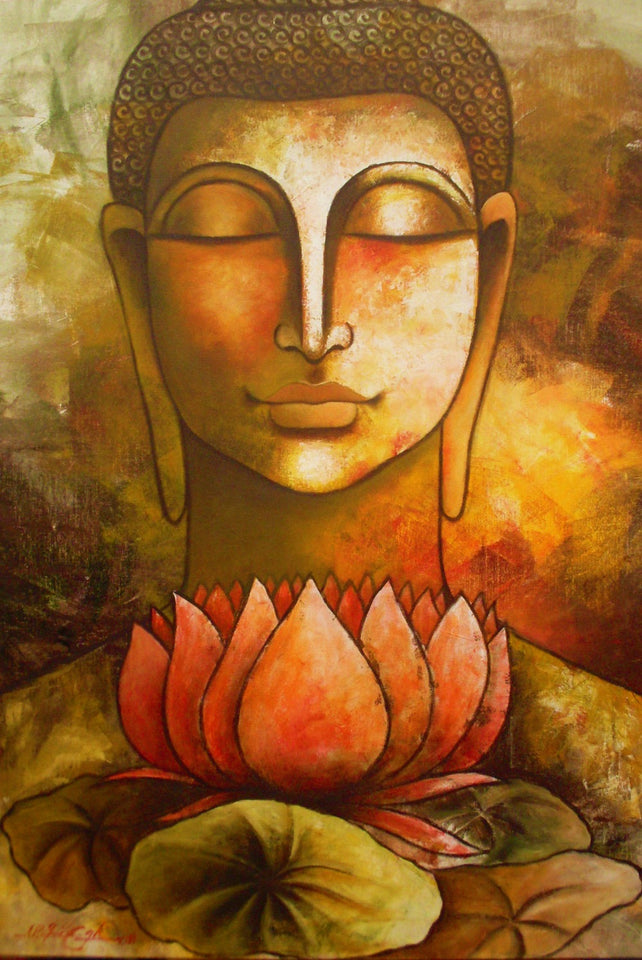 Art Classical Buddha Oil Painting Solemn Buddhism Wall Canvas Art Asian Religion Ancient Picture