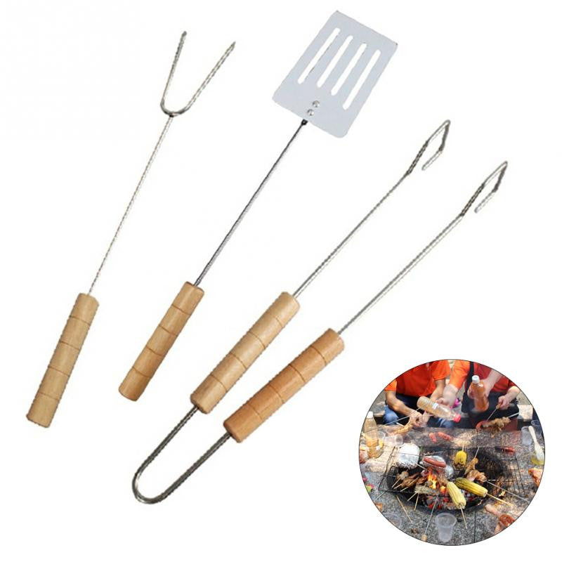 3Pcs/Set Stainless Steel Barbecue Grill Tongs Skewer Roasting Clamp Fork Shovel Set Good Quality