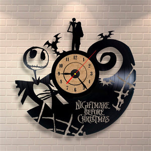 CD Wall Clock Antique Style Nightmare Before Christmas Film Theme Art Clock Quartz Watch Saat Home Decor