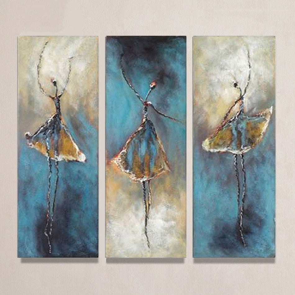 3 Panels Vintage Abstract Ballet Dancer Hand Painted Oil Painting On Canvas Wall Art Picture Living Room