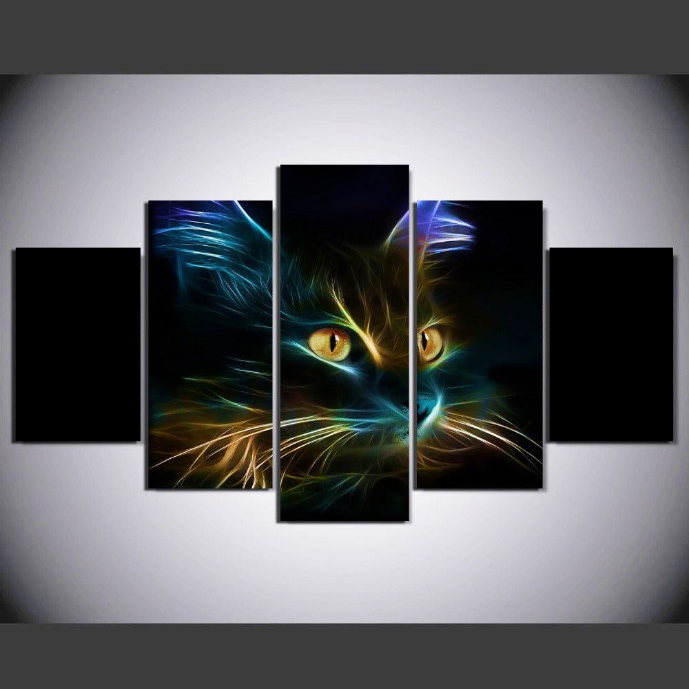 5 Pieces Color Abstraction Animal Cat Painting Canvas Wall Art Picture Canvas Print Modern Painting