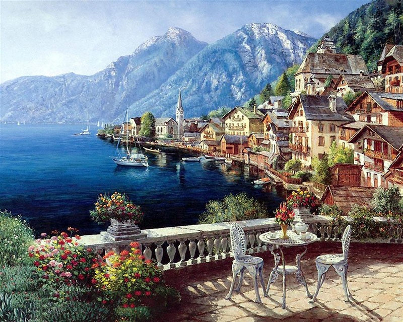 Austria Town Landscape DIY Painting By Numbers Wall Art Canvas Painting Home Decoration