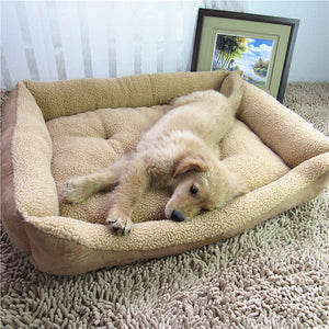 Large Dog Bed Soft Berber Fleece Puppy Cushion Winter Warm Pet Dog House