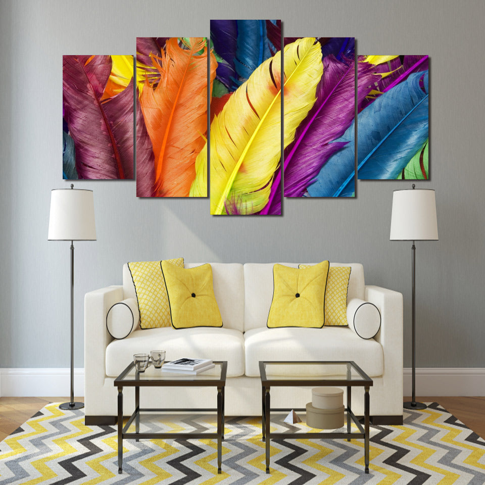 HD Printed Feathers 5 Pieces Group Painting Room Decor Print Poster Picture Canvas
