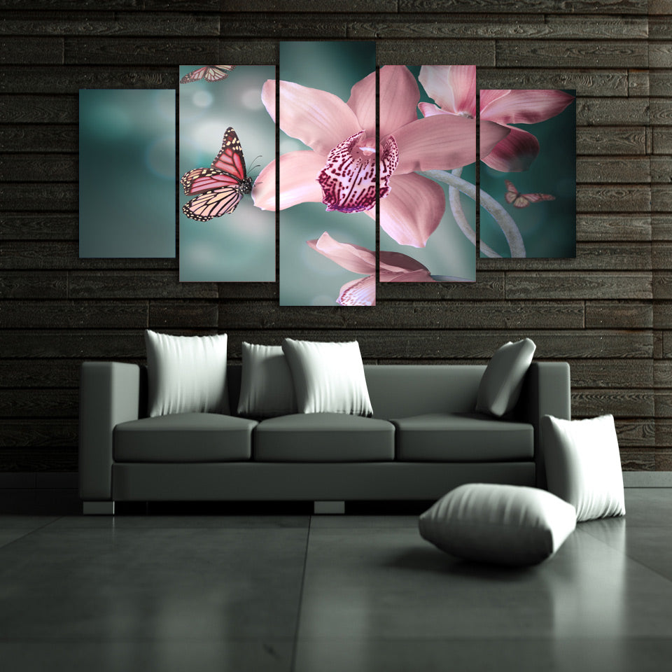 Wall Picture Butterfly Orchid Painting Canvas Print HD Printed Canvas Poster