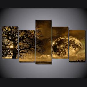 HD Printed Celestial Body 5 Piece Painting Wall Art Room Decor Print Poster Picture Canvas