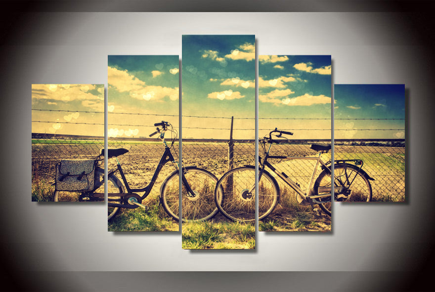 5 Pieces Blue Paddy Bicycle Wall Art Picture Modern Home Decoration Canvas Print Painting Wall Picture