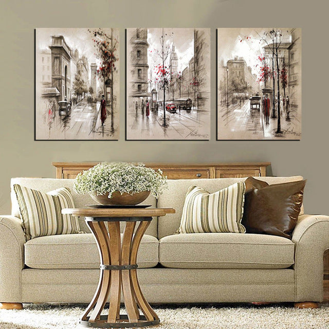 Home Decor Canvas Painting Abstract City Street Landscape Decorative Paintings Wall Pictures 3 pcs Wall Art