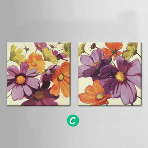 2 Panel Flower Abstract Print Canvas Art Oil Painting Home Decoration Modular Picture