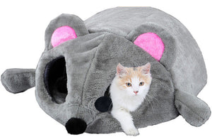 Mouse Shape Bed For Small Cats Dogs Cave Bed Removable Cushion,Waterproof Bottom Cat House