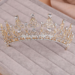 Wedding Bridal Crystal Tiara Crowns Princess Queen Pageant Prom Rhinestone Veil Tiara Headband Wedding Hair Accessory
