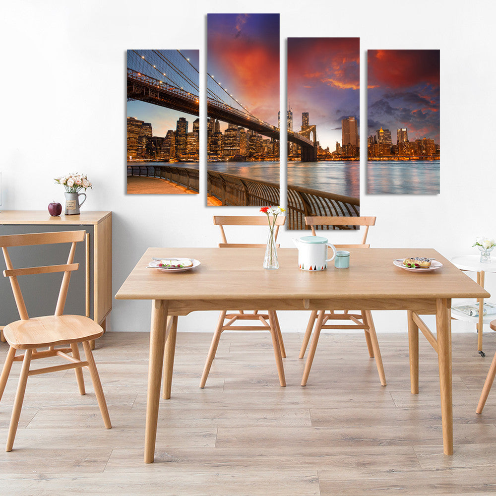 4 Piece Modular Pictures New York City Picture Canvas Art Print Wall Pictures On The Home Decoration