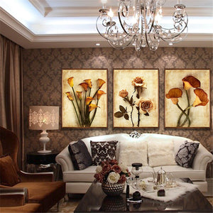 Canvas Art Oil Painting Flower Painting Print Wall Art Modular Picture Wall 3 Panel