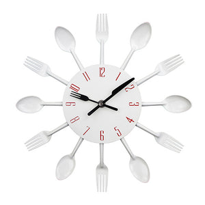 Wall Clock Metal Colorful Knife Fork Spoon Kitchen Clocks Creative Modern Home Decor