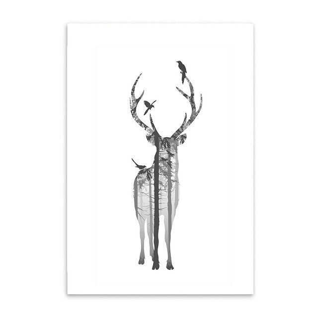Style Forest Canvas Art Print Painting Poster, Deer Wall Pictures Home Decoration