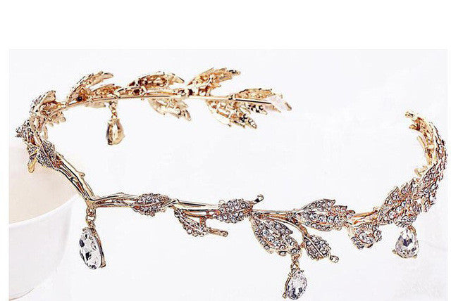 Crown Bridal Hair Accessory Wedding Rhinestone Leaf Tiara Crown Headband Bridesmaid Hair Jewelry