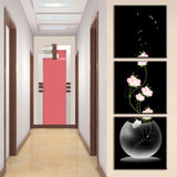 3 Pcs/Set Abstract Art Modern Wall Paintings FLowers Porch Vertical Decorative Picture Wall Art Top Home Decoration (Unframed)